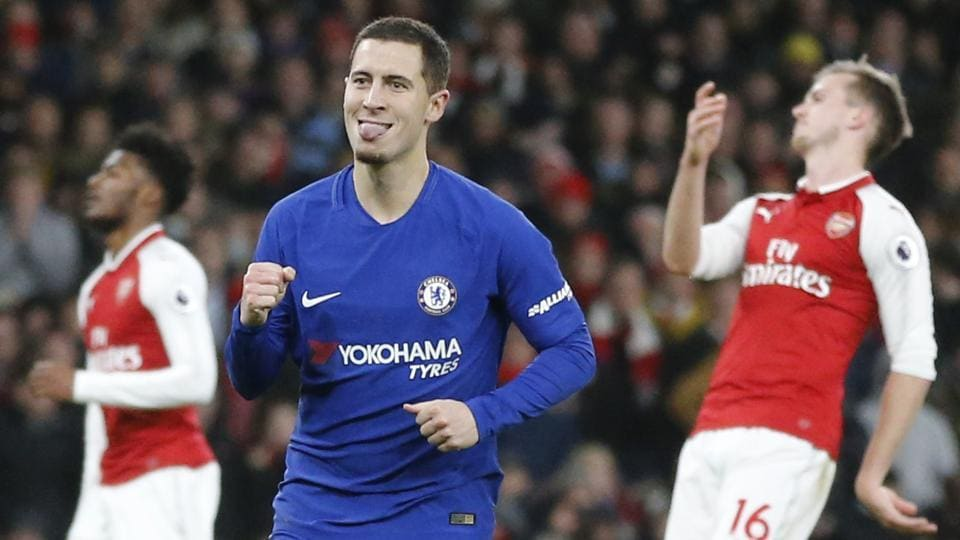 Chelsea's Eden Hazard (C) will return from his calf injury for the first leg of the League Cup semi-final against Arsenal.