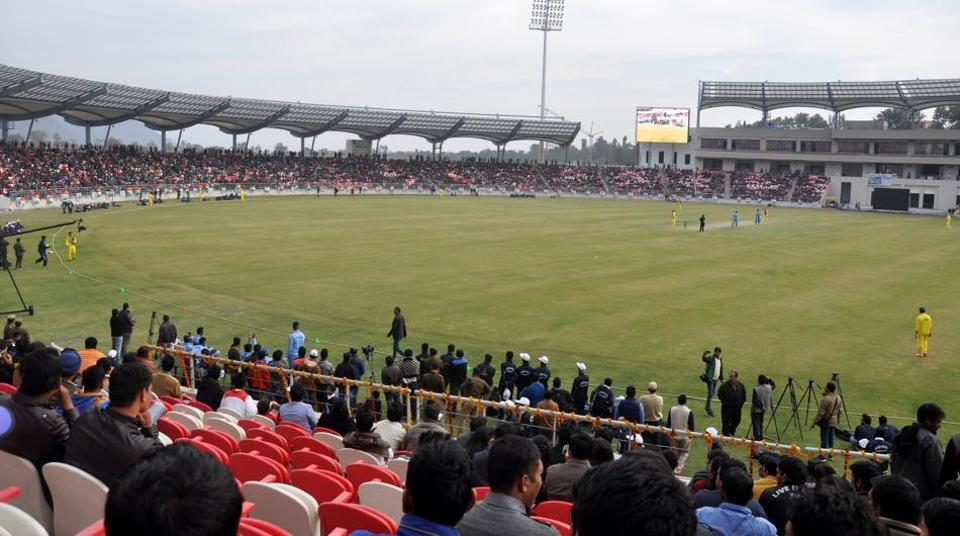 (File photo) The Rajiv Gandhi Cricket Stadium at Maharana Pratap Sports College in Dehradun (Doon), during its inaugural match in December 2016.