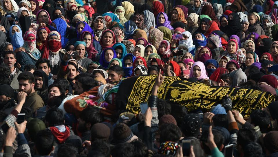 A funeral procession is taken out for eighteen-year-old militant Farhaan Wani at Wanigund in Kulgam district. The teenager had joined militant ranks in mid-2017. In November, his father Ghulam Mohammad Wani put up an emotional Facebook post urging him to relinquish violence and return home. The plea went in vain. (Tauseef Mustafa / AFP)