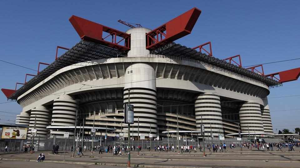 A general view of the San Siro stadium  – with a capacity of just over 80,000 – which is home to Serie A rivals ACMilan and Inter Milan and base of the Rossoneri since 1926.