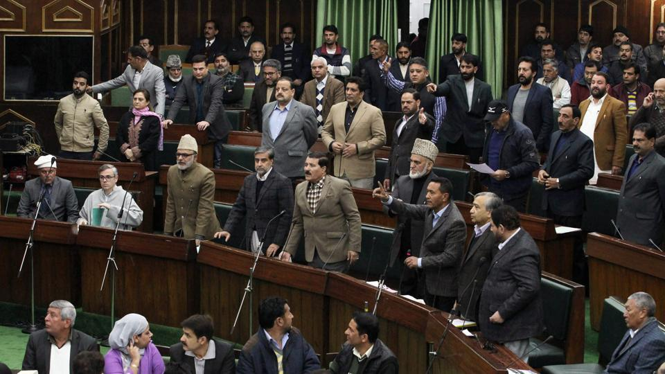 National Conference party members seen during the budget session, in Jammu, on Tuesday.