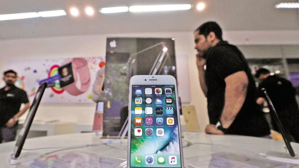 An iPhone is seen on display at a kiosk at an Apple reseller store in Mumbai, India, January 12, 2017.