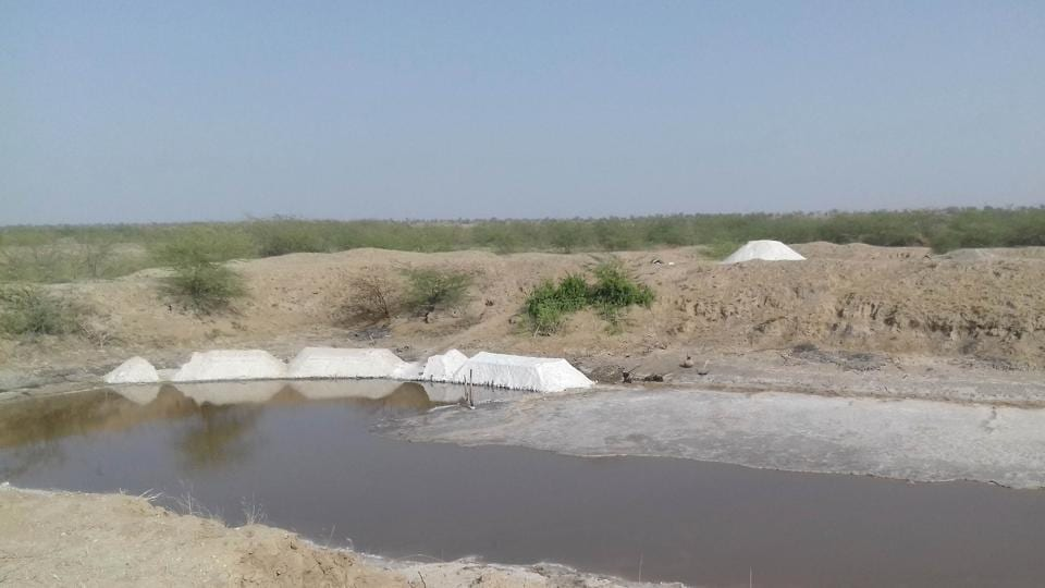 Salt mines at the proposed oil refinery site in Rajasthan's  Barmer.
