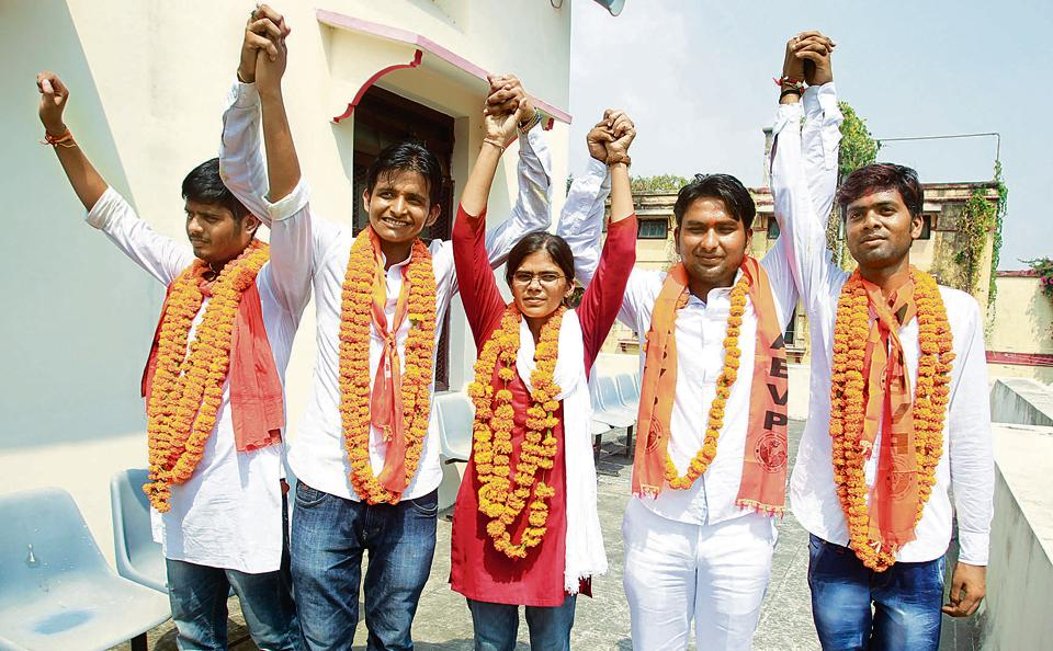 Richa Singh, after being elected president of the students union of Allahabad University in a picture dated 1 October, 2015.
