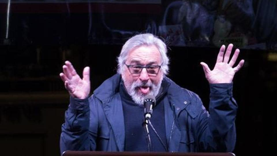 File photo of Robert De Niro speaking at the