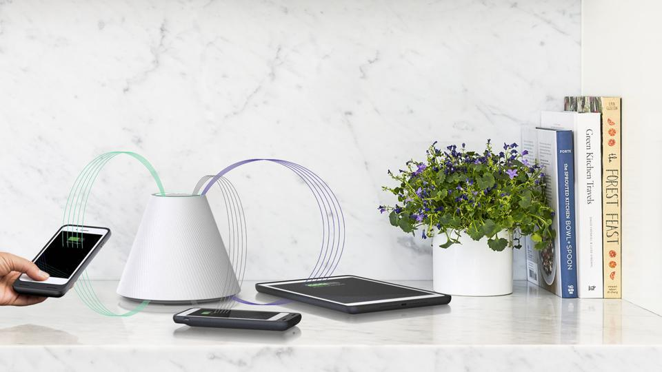"Shaped as a cone, the Pi wireless charger changes ""the angle of a magnetic field to perfectly match the angle of your device."""