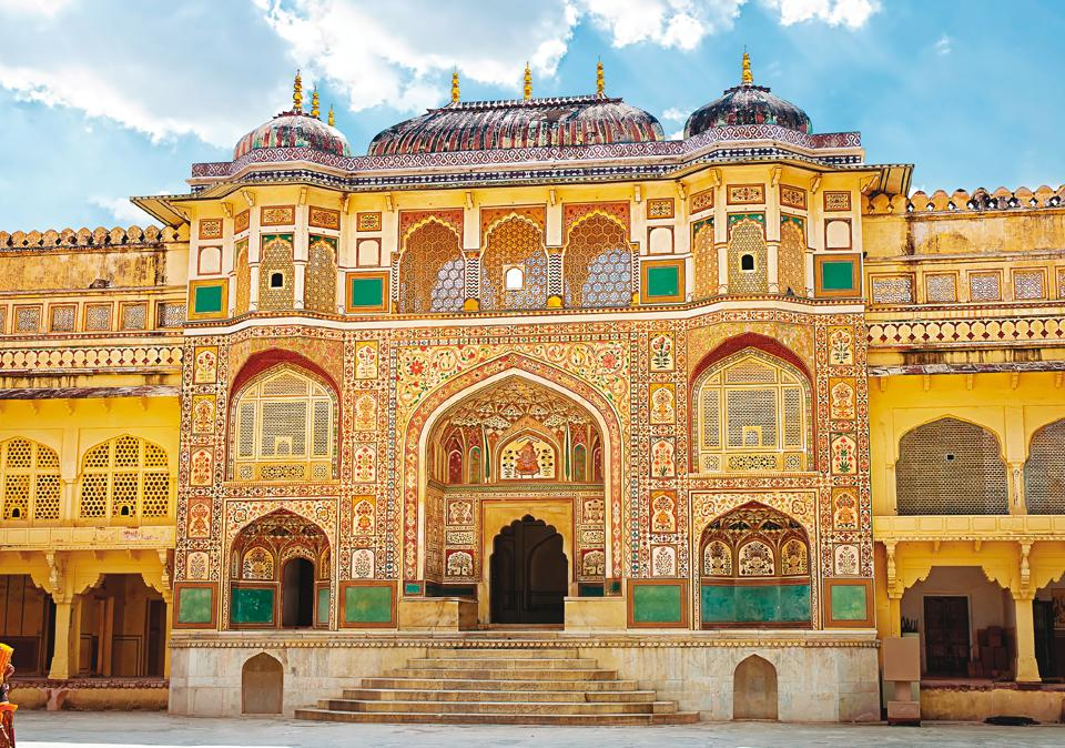 A decorated gateway at the Amber fort in Jaipur brings alive the history of the royals