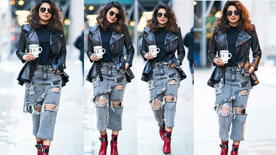 Sticking to what she's comfortable in, PeeCee opted for ripped boyfriend jeans with an asymmetrical shredded drape detailing from the label R13.