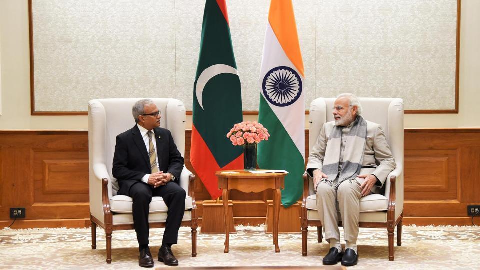 Foreign minister & special envoy of President of Maldives, Mohamed Asim calls on the Prime Minister Narendra Modi in New Delhi on January 11.