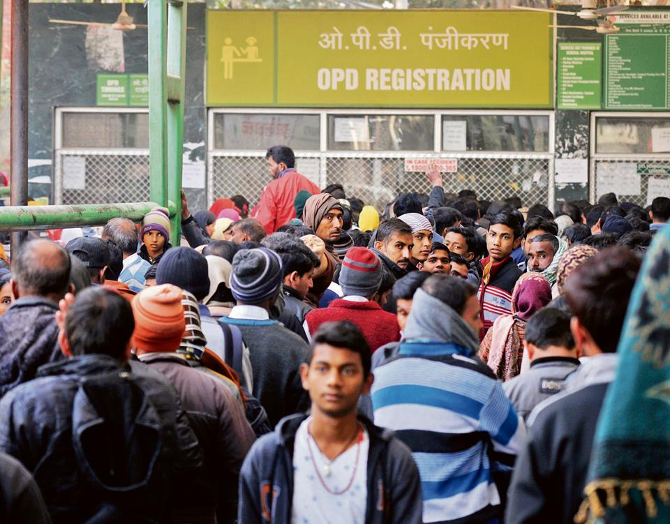 On Monday, the Civil Hospital saw hundreds of patients waiting in queue for their turn to get cards for OPD admission.