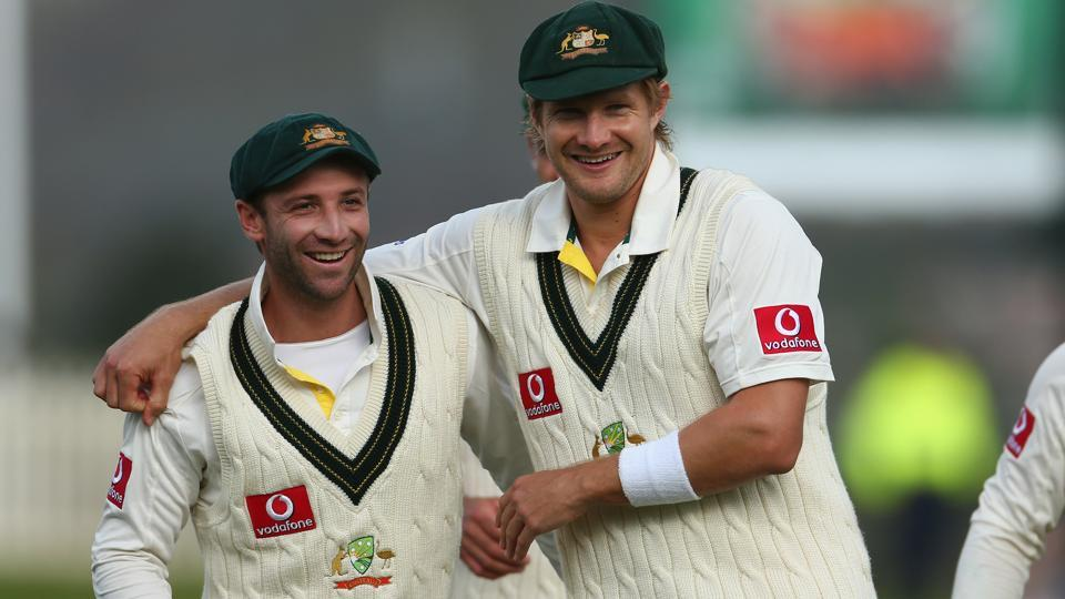 Shane Watson (right) and Phil Hughes were not only Australia cricket teammates but also very close friends, and the untimely death of Hughes while batting in the middle, left Watson scarred.