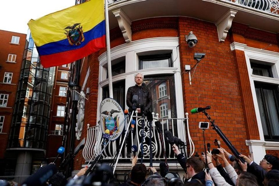 WikiLeaks founder Julian Assange is seen on the balcony of the Ecuadorian Embassy in London on May 19, 2017