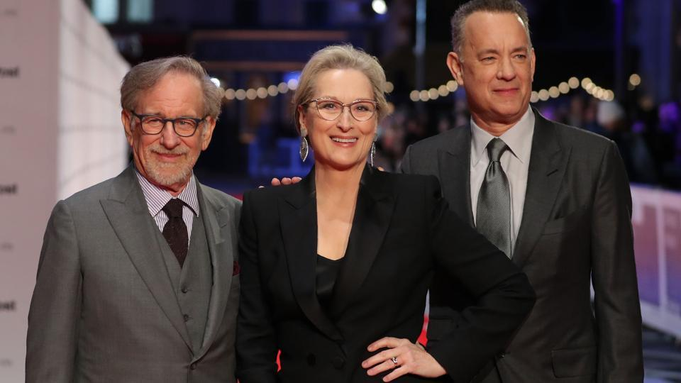 \teven Spielberg (L), Meryl Streep (C) and Tom Hanks pose on the red carpet on arrival for the European Premiere of The Post in London.