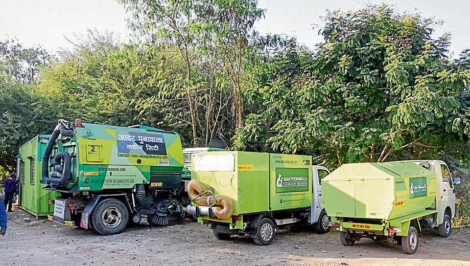 Vehicles meant to collect garbage stationed at the SPPU campus. The vehicles were sponsored under the Adar Poonawalla Clean City initiative.