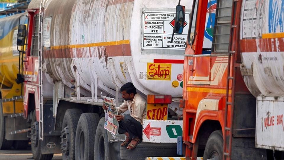 An oil tanker parked at a truck terminal in Mumbai. The NGT has allowed registration of new diesel vehicles to be used for transporting petrol.