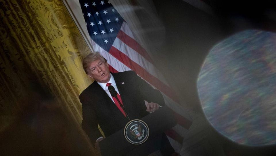 US President Donald Trump speaks during a press conference at the White House on  January 10, 2018 in Washington, DC.
