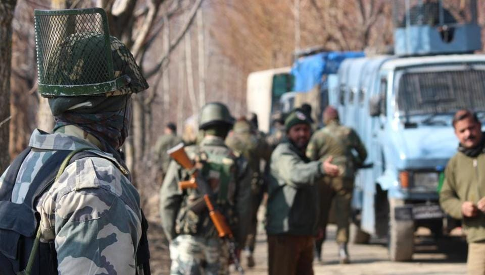 Soldiers rush towards an encounter site after a militant attack in Kokernag area in Anantnag district in south Kashmir.