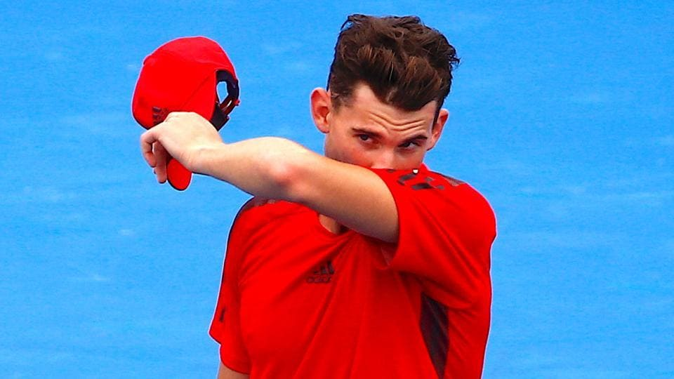 Austria's Dominic Thiem reacts after losing his match against Serbia's Novak Djokovic at the Kooyong Classic on Wednesday.
