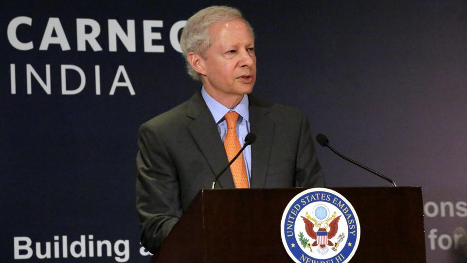 US ambassador to India Kenneth I Juster speaks about the US-India relations in New Delhi on Thursday.