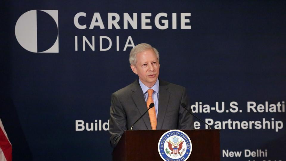 US ambassador to India Kenneth Juster speaks on US-India relations in New Delhi on Thursday.