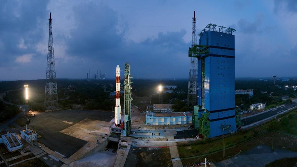 A panaromic view of the fully integrated PSLV-C40 with the Mobile Service Tower withdrawn. India on Friday launched a polar rocket with 31 satellites, including three Indian and 28 of six other nations from its spaceport in Sriharikota, Andhra Pradesh. (ISRO)