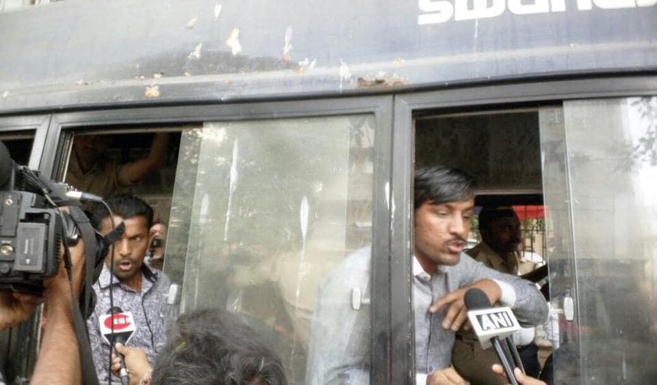 Karni Sena protesters being taken away by the Mumbai police from outside the Central Board of Film Certification office on Friday.