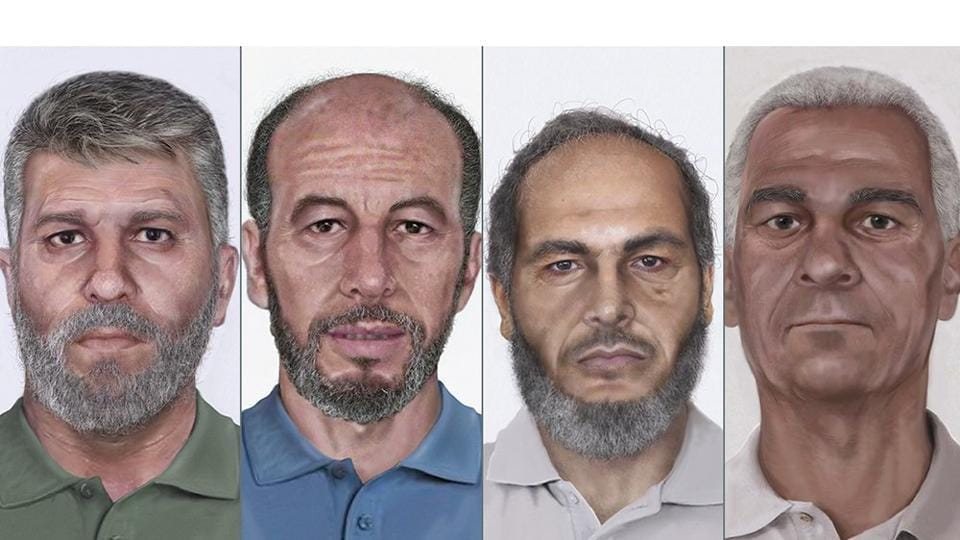 Age-processed photos of the four accused of hijacking the 1986 hijack of Pan Am Flight 73. From left: Jamal Saeed Abdul Rahim, Muhammad Ahmed al-Munawar, Muhammad Abdullah Khalil Hussain ar- Rahayyal and Wadoud Muhammad Hafiz al-Turki.