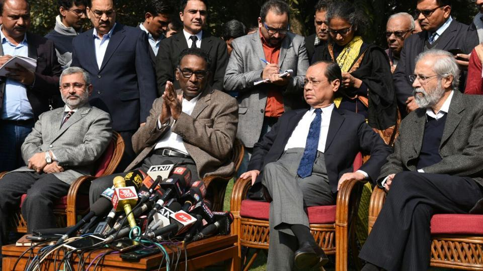 Fourt SC judges hold a press conference in New Delhi.