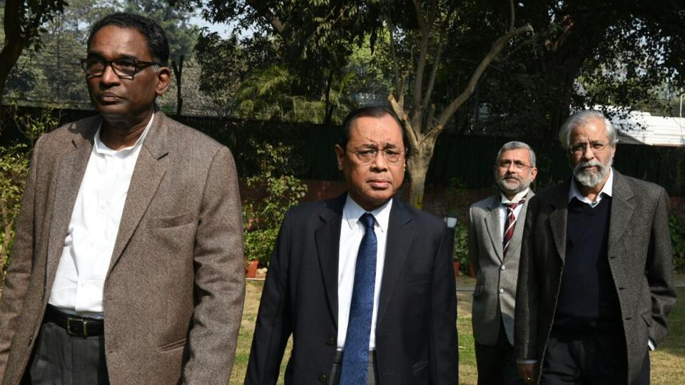 Four Supreme Court judges held a press conference in New Delhi.