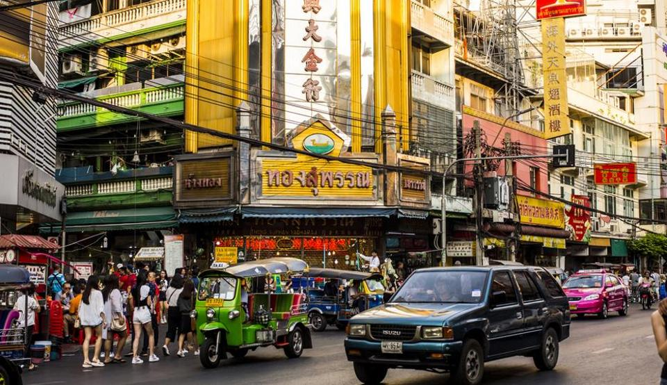Yaowarat Road in Bangkok. Exposure to the elements means the cables are easily damaged, which can cause problems for the city's electrical system.
