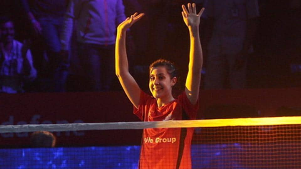 Carolina Marin came back from a game down to steer Hyderabad Hunters into the final of the third Premier Badminton League.