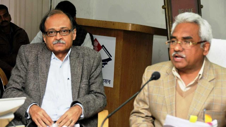 Urban development minister Madan Kaushik and chief secretary Utpal Kumar Singh at the press conference on Friday.