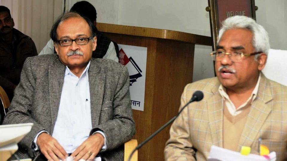 Urban development minister Madan Kaushik and chief secretary Utpal Kumar Singh at the press conference on Friday.