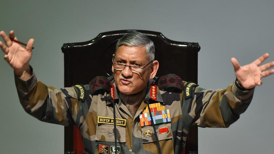 Army Chief Bipin Rawat addresses a press conference in New Delhi on Friday.