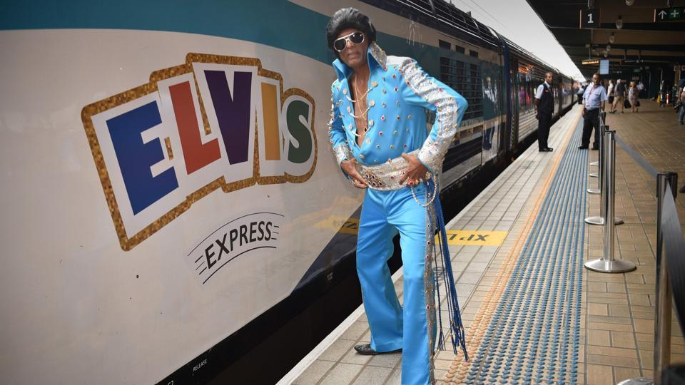 """Elvis is close to my heart because we grew up with Elvis in India,"" Alfred Vaz, who dressed in a blue flared jumpsuit and also goes by his stage name of Bollywood Elvis, or Raja, told Reuters. ""From a very little kid, we always used to gyrate and try sing Elvis"" he said, launching in to a rendition of ""Blue Suede Shoes"". (Peter Parks / AFP)"