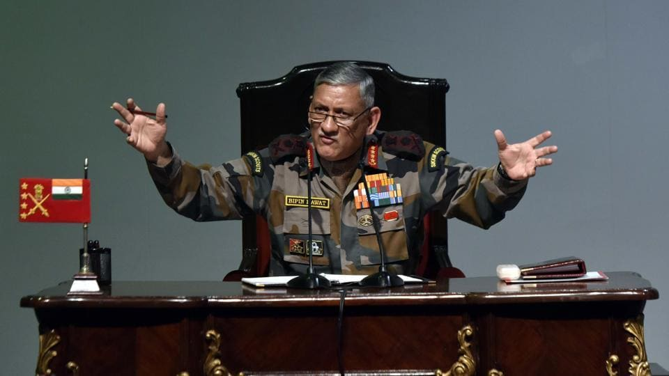 """China is a powerful country but we are not a weak nation,"" Army chief General Bipin Rawat said at a press conference ahead of Army Day. The Army Chief also warned that potential adversaries may seek to counter India's conventional military superiority using less expensive and more attainable asymmetrical means. (Vipin Kumar / HT PHOTO)"