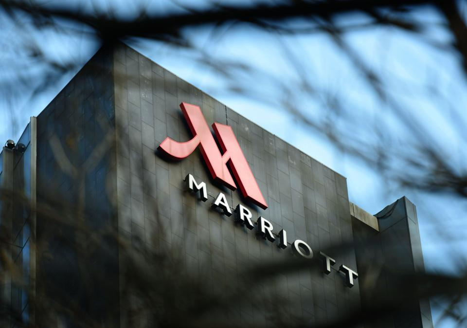 This photo taken on January 11, 2018 shows a Marriott logo in Hangzhou in China's Zhejiang province.
