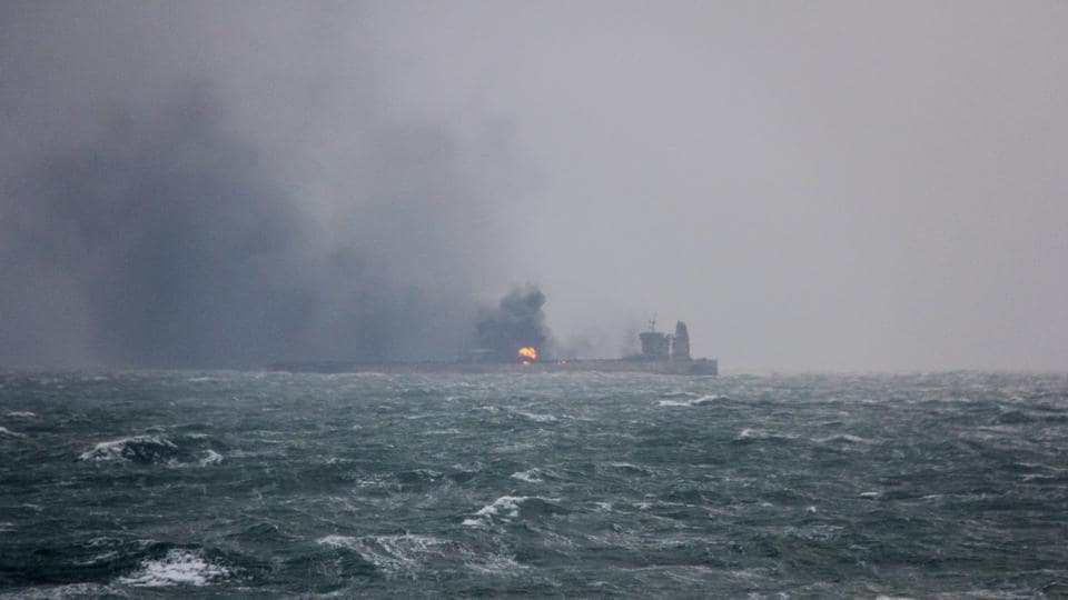 Smoke is seen rising from the Panama-registered Sanchi tanker carrying Iranian oil two days after a collision with a Chinese freight ship in the East China Sea on January 9, 2018. (China's Ministry of Transport Handout via REUTERS)