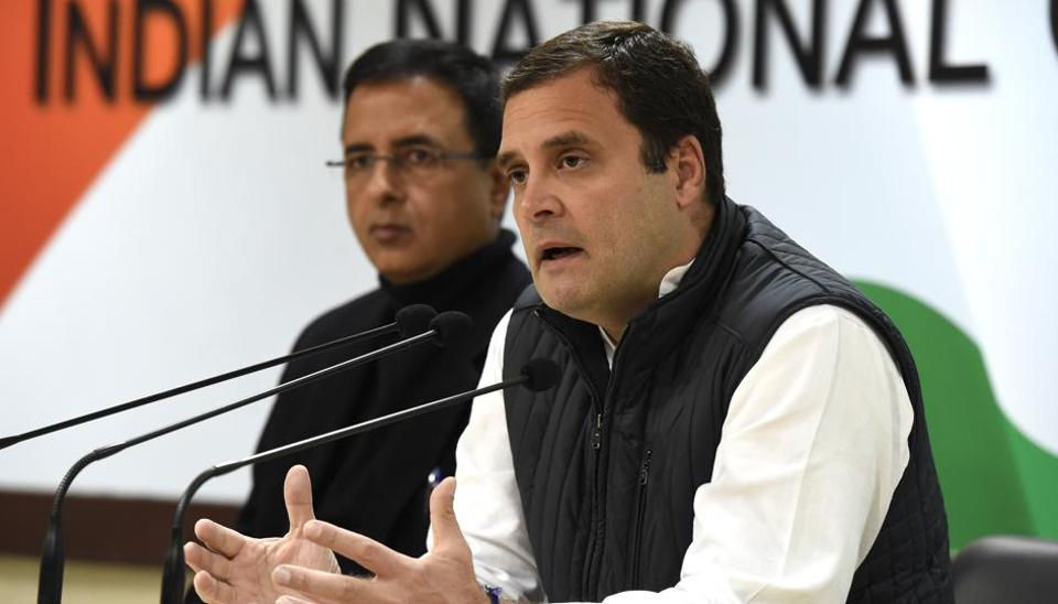 Congress president Rahul Gandhi addresses a press conference in New Delhi on Friday.