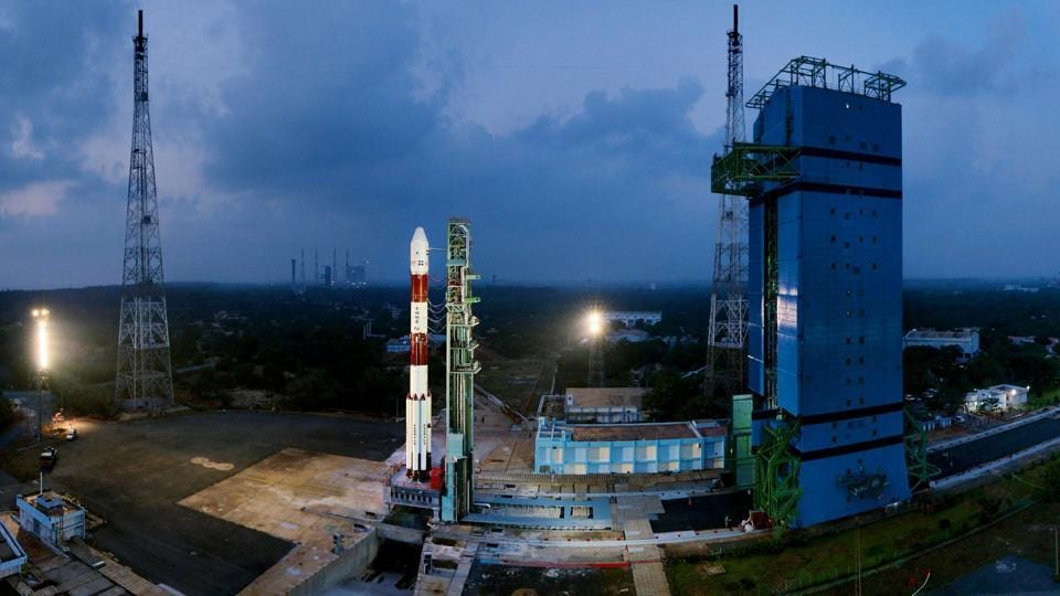 Fully integrated PSLV-C40 with all the 31 spacecraft at First Launch Pad, in Sriharikota.