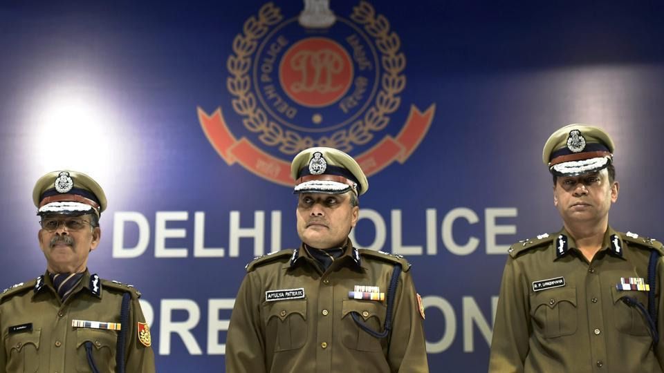 Delhi police commissioner Amulya Patnaik along with other senior police officers during an annual press conference in New Delhi on Thursday.