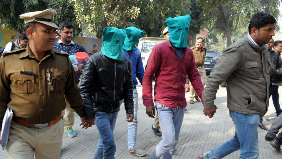 Three arrested members of the Ashok Rathi Gang gang who were involved in the Harsih Bakery ransom case.