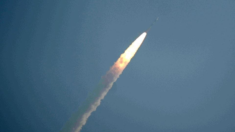 India launched a polar rocket with 31 satellites, including three Indian and 28 of six other nations from its spaceport in Sriharikota, Andhra Pradesh.  (Arun Sankar / AFP)