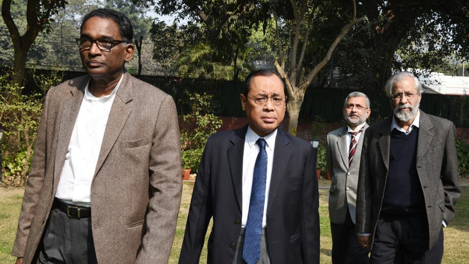 Supreme Court judges J Chelameswar, Ranjan Gogoi, Kurian Joseph, and Madan BLokur in New Delhi on Friday.