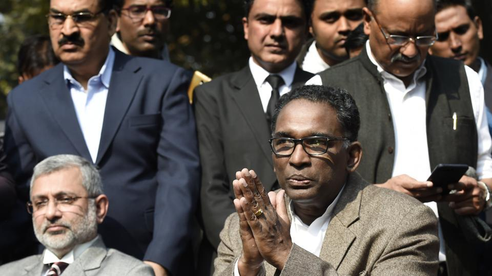 Supreme Court judges Kurian Joseph and J Chelameswar addresses the media, New Delhi, January 12, 2018