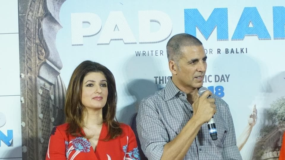 Actor Akshay Kumar and wife Twinkle Khanna at the song launch of their upcoming film Padman in Mumbai .