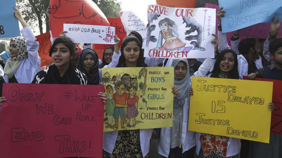Pakistani students protest during a rally condemning the rape and killing of Zainab Ansari, an 8-year-old girl last week in Kasur, Friday, Jan. 12, 2018, in Lahore, Pakistan.