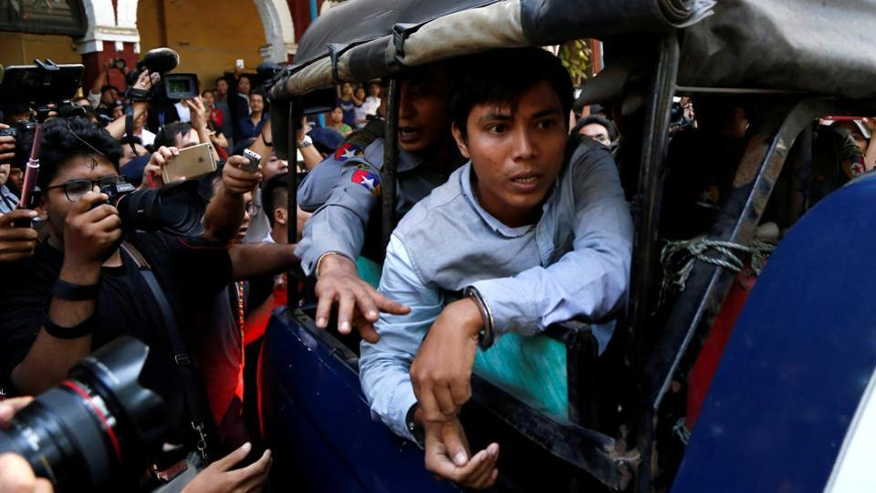 Reuters journalist Kyaw Soe Oo arrives at the court in Yangon, Myanmar on January 10, 2018. Myanmar has accused Reuters reporters Wa Lone, 31, and Kyaw Soe Oo, 27, of breaching the country's Official Secrets Act, a little-used law from colonial rule. (REUTERS)