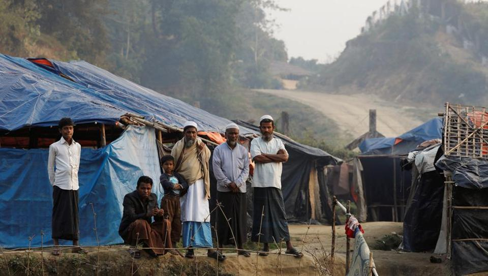 Rohingya refugees are seen in a refugee camp at no-man's land at the Bangladesh-Myanmar border, in Cox's Bazar, Bangladesh January 12, 2018.