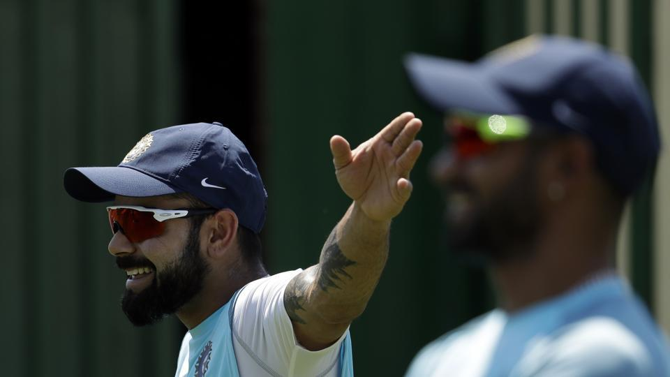 Virat Kohli has some fun in the practice session. (AP)